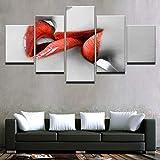 Lienzo Arte de la Pared Imágenes HD Impresiones Sala de Estar Decoración para el hogar 5 Piezas Mujer Pintalabios Rojo Pinturas Labios Rojos Beso Carteles