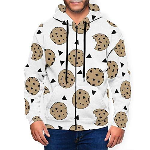 Heren Pullover Full-Zip Fleece Hoodie Cookies Voedsel Chocolade Chip Koekjes