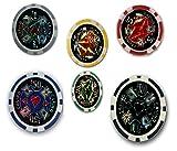 Mgs33 Pack,Lot de 6 , complément de 6 jetons de Poker Casino Laser 1$ Gris, 5$ Rouge,10$ Vert,25$ Jaune,50$ Bleu , 100$ Noir