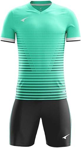 GLJJQMY Uniformes de l'équipe de T-Shirt des Hommes et des Femmes de Football à Manches Courtes courtes Costume Costumes d'entraîneHommest Adultes Maillots T-Shirt Basketball (Couleur   A, Taille   XL)