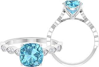 Anillo solitario de corte cojín de 8 mm, anillo de moissanita D-VSSI, anillo de compromiso de oro blanco de 14 quilates