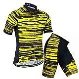 X-Labor - Juego de maillot de ciclismo para hombre, talla grande, manga corta y pantalón con acolchado 3D, color amarillo