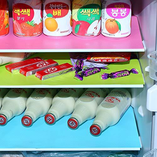 moinkerin 12 Stücke Kühlschrankmatte Antibakterielle 45x 29CM Kühlschrankmatten Schubladen Matten für Küche, Kühlschrank, Schrank, Tischmatte, Schublade