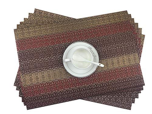 addfun® 2016 New Isolation en PVC Isolation Set de table antidérapant lavable en machine Sets de table, PVC, Rouge, Lot de 6