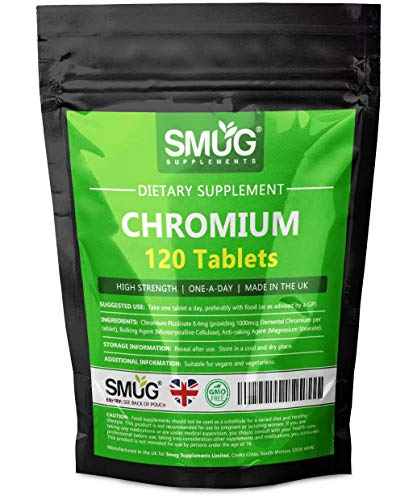 Chromium 1000mcg Picolinate Tablets | 120 Pack | Can Contribute to Normal Blood Glucose/Sugar Levels and a Healthy Metabolism