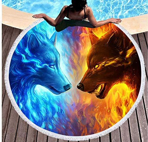 Vanzelu Vuur En Ijs Ronde Strandhanddoek Voor Volwassenen Wolf Microvezel Tassel Handdoek Volwassen Grote Badhanddoek Tapestry Yoga Mat Zwemkleding Picknick Mat 150x150cm Outdoor