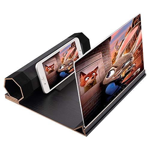 HWeggo 12 Zoll 3D Handy Bildschirmlupe, HD Stereoskopisch Handy Bildschirm Verstärker, Anti-Strahlung Handy Film Spiel Video Vergrößerer mit Faltbarem Holzmaserung Ständerhalter, für Alle Smart Phones