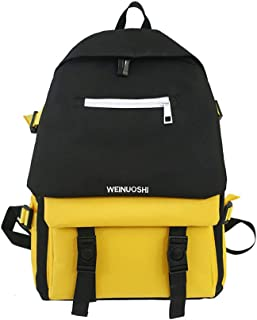 Large Capacity Contrast Color Schoolbag, Fashion Casual Breathable Light Washable Oxford Cloth School Bag, Student Teens College Backpack,Yellow