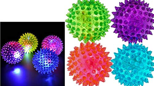 Light Up Spike Rubber Ball (Pack of 4) and 1 Collectable Bouncy Ball. Flashing Lights Soft Colorful Cool Ball by JA-RU | Therapy Balls 2.5 Inch | Item #695-4p