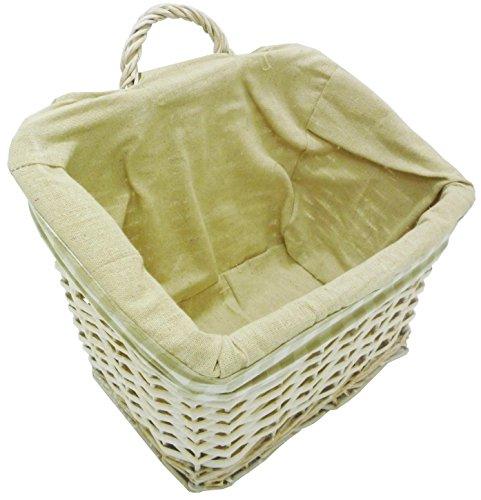 Panier panier panier Cestone suspendu Organisateur rectangulaire en osier 30 x 20h23 Blanc Shabby Chic avec manche pour emballage cadeau