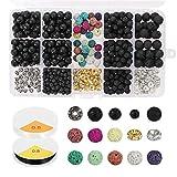 miuse 606 Stück Lava Perlen Kit Lavastein Perlen Verschiedene farbige Chakraperlen Spacer Perlen...