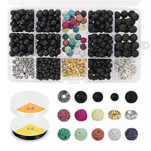 Miuse 606 piezas de perlas de lava, juego de piedras volcánicas, diferentes perlas de chakra con 2 cuerdas elásticas y 2 agujas de perlas para pulsera de aceite esencial