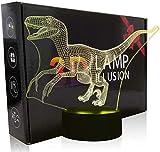 Lámpara de ilusión 3D, dinosaurio B controlador de luz nocturna 16 colores cambiantes lámpara de escritorio para niños Navidad cumpleaños regalos decoración del hogar
