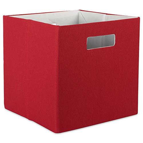 DII Hard Sided Collapsible Fabric Storage Container for Nursery, Offices, & Home Organization, (13x13x13) - Solid Rust