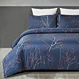 YEPINS Soft Brushed Microfiber Duvet Cover Set with Zipper Closure and Corner Ties, Branch Floral Printed Pattern, Grayish Blue Color- King Size