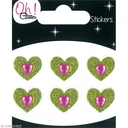 Oh, nee. Glitter Hearts Glitter Stickers, Papier, Groen, 6,5 x 8 x 0,2 cm