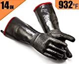 RAPICCA BBQ Gloves Heat Resistant-Smoker, Grill, Cooking Barbecue Gloves, for Handling Heat Food Right on Your Fryer, Grill or Oven. Waterproof, Fireproof, Oil Resistant Neoprene Coating (14-Inch )