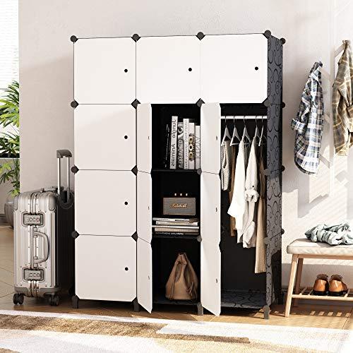 HOMEYFINE Armario portátil para Dormitorio, Armario de Almacenamiento, Aparador colocado en Pared, Armario Modular de plástico con rieles, Blanco y Negro(12 cúbicos)