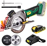 POPOMAN Cordless Circular Saw, 4-1/2' Saw with Laser Guide, 20V 2.0Ah Battery, 1H Charger, 9.5' Base Plate, Max Cutting Depth 1-11/16'' (90°), 1-1/8'' (45°), Wood, Plastic and Metal Cuts - MTW80B