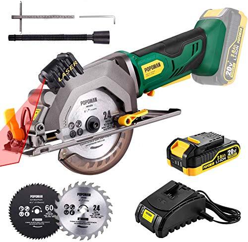 """POPOMAN Cordless Circular Saw, 4-1/2"""" Saw with Laser Guide, 20V 2.0Ah Battery, 1H Charger, 9.5"""" Base Plate, Max Cutting Depth 1-11/16'' (90°), 1-1/8'' (45°), Wood, Plastic and Metal Cuts - MTW80B"""