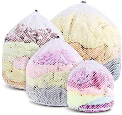 Set mit 4-Mesh-Wäschesäcken, wiederverwendbaren, haltbaren Mesh-Waschbeuteln, Waschmaschinentaschen mit geschlossenem Kordelzug, geeignet für Unterwäsche, Socken, Babytücher, Reisen
