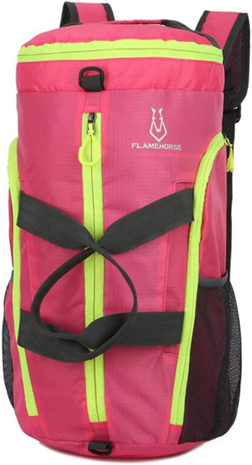 Climb Backpack Travel Backpack,Multifunction Outdoor Gift Mountaineering Fold Backpack,Green (color   Pink)