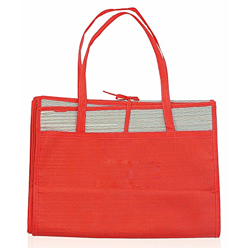 eBuyGB Alfombra de Playa de Paja con Bolsillo, Color Rojo