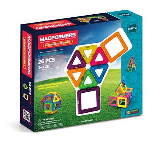 Magformers Neon 26 Pieces Rainbow neon Colors, Educational Magnetic Geometric Shapes Tiles Building STEM Toy Set Ages 3+