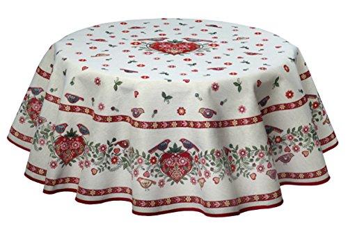 Nappe ronde en tapisserie de style maison de campagne avec des cœurs, 140 cm Nappe de rêve de Provencestoffe
