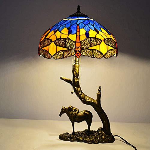 DIMPLEY Tischlampe Tiffany Stil Libelle Buntglas Lampenschirm Nachttische Lampen Retro Harz 2 Flammen Schreibtischlampe für Wohnzimmer Schlafzimmer