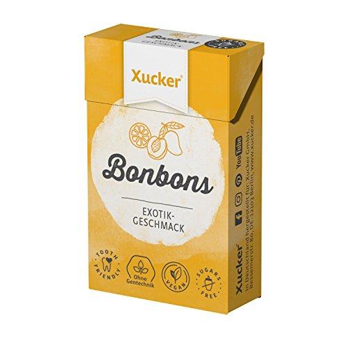Xucker 50 g Xylit-Bonbons Exotik - zuckerfreie Zahnpflegebonbons - mit natürlichem Aroma, optimal für die kohlenhydrat-bewusste Ernährung - Made in Germany - frei von Gentechnik