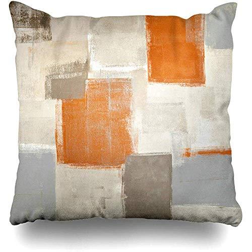 Cojines del sofá Funda de almohada cuadrada Contemporáneo Marrón Gris Beige Naranja Pintura abstracta Gris Blanco Bloques Galería Funda de cojín moderna Decoración para el hogar Funda de almohada