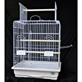 25 inches wide, 21 inches deep, 29 inches high. Good for Cockatiels, Small Conures, Small Amazons Plastic Base Two metal handles for easy carrying. 4mm thick bars, 3/4-inch spacing.