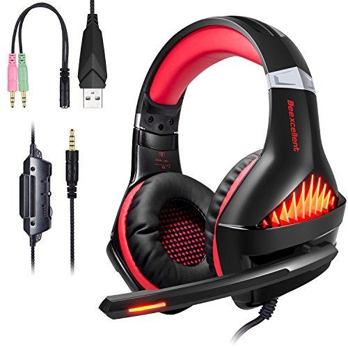 Auriculares Gaming para PS4 PC, Auriculares para Juegos con micrófono,Auriculares Cascos Luz LED con Cable Sobre el oído Reducción de Ruido estéreo PS4 y PC Xones/PC(Rojo)