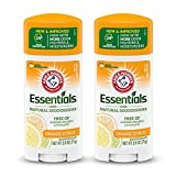ARM & HAMMER Essentials Deodorant- Orange Citrus- Solid Oval - Made with Natural Deodorizers- Free From Aluminum, Parabens & Phthalates, 2.5 oz (Pack of 2)