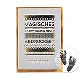 Magisches BABY ABDRUCKSET - keine Tinte, kein Gips! /// 4x Papier ca. 14 x 10 cm /// KLEIN (140 x 107 mm) /// ausreichend für 4 Hand- oder Fußabdrücke, ab Geburt möglich