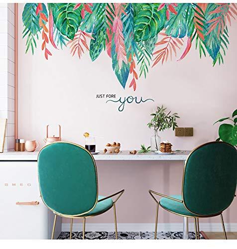 Dibujos animados creativos plantas árbol hoja flores coloridas diy calcomanía dormitorio sala de estar decoración del hogar sofá TV Fondo PVC etiqueta de la pared Mural