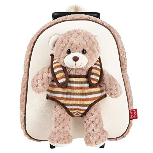 PERLETTI Plüschtier Teddybär Kindergepäck Rucksack für Kinder - Kinderrucksack Abnehmbaren Rädern und Kuscheltier Bär Plüschbär - Kindergarten Rollrucksack Kleinkinder 3 4 5 Jahren - 28x32x11 cm (Bär)