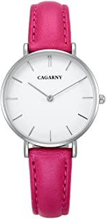 Lanbinxiang@  6872 Life Waterproof Round Dial Quartz Movement Alloy Silver Case Fashion Watch Quartz Strap Leather Strap Fashion (Color : Magenta)