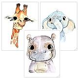 timalo t3er01 Lote de 3pósteres con diseño de animales, ideales para decorar una habitación infantil o de bebé de un niño o de una niña - 3 Stück (A4) - T008