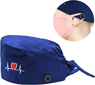 Hotme Surgical Scrub Cap with Button Sweatband Adjustable Tie Back Medical Doctors Nurses Bouffant Hats for Women Men