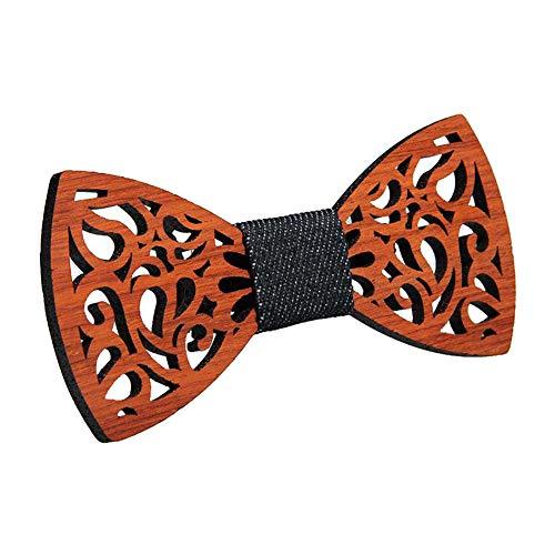 Doitsa 1pcs Réglable Noeud Papillon en Bois pour Homme, avec Crochet (Style-2)