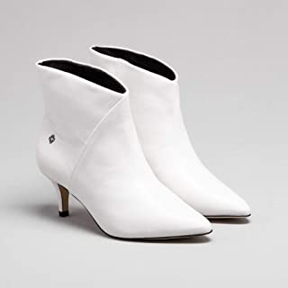 Ankle Boot Couro Branca