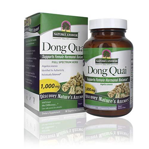 Nature's Answer Dong Quai Root 1000mg   Dietary Supplement   Supports Female Hormone Balance   Non-GMO, Vegan, Kosher Certified & Gluten-Free   Vegetarian Capsules 90ct