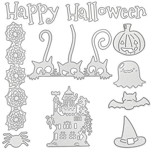 9 Piezas Troqueles de Corte de Halloween Plantilla en Forma de Casa de Calavera Calabaza Troqueles de Corte de Metal para Manualidades de Bricolaje de Tarjeta Álbume de Recortes de Halloween