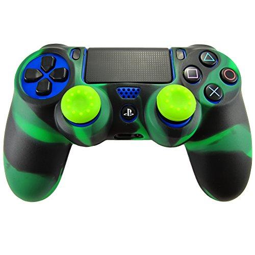 Pandaren® Silikon hülle skin Schutzhülle für PS4 controller (schwarz grün) x 1 + thumb grip aufsätze x 2