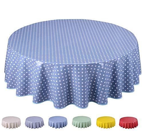 Home Direct Wachstuch Tischdecke Abwaschbar Rund 140cm Kleine Tupfen (Blau Grau)