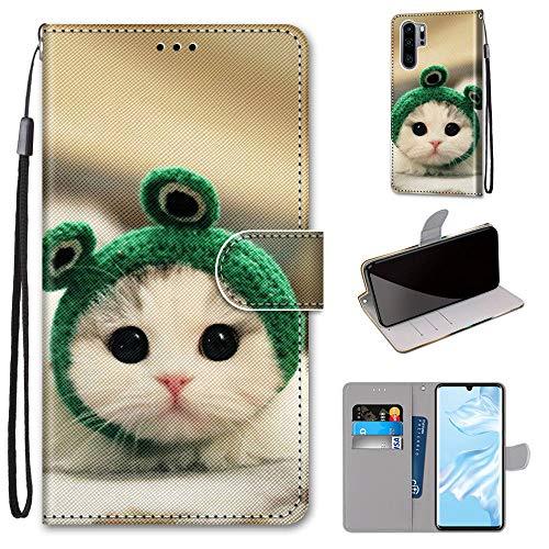 Miagon Flip PU Leder Schutzhülle für Huawei P30 Pro,Bunt Muster Hülle Brieftasche Case Cover Ständer mit Kartenfächer Trageschlaufe,Frosch Katze