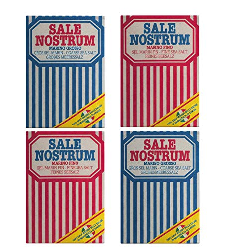 Sapor Design 4x 1kg grobes Meersalz & feines Meersalz von Sale Nostrum | Salz grob und fein auch für Mühle geeignet | Handgeschöpft | Sea Salt hochwertiges Meersalz aus Italien im Retro Design
