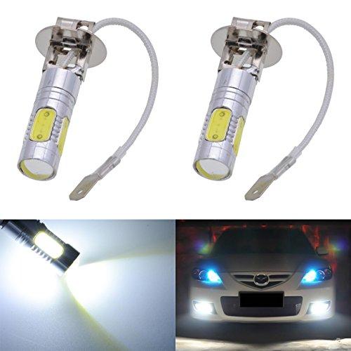 Lot de 2 ampoules à LED COB 9005 HB3 H10 9145 9140 blanches 6000K de 12 V, 7,5 W, 1600 Lumens en aluminium pour phares anti-brouillard, DRL et Clignotants